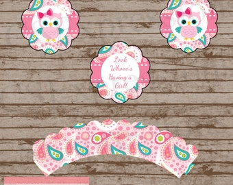Pink Paisley Owl Baby Shower Cupcake Toppers and Wrappers