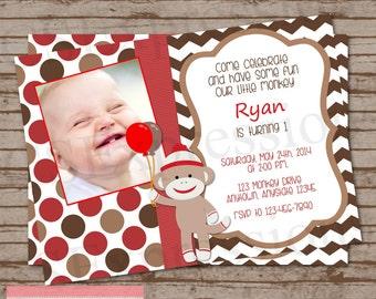 Sock Monkey Photo Birthday Party Invitation