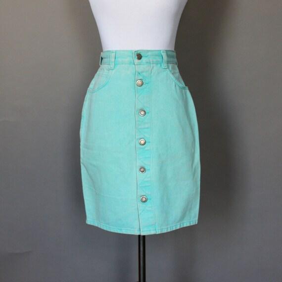 Items similar to Vintage 80s Skirt 1980s Aqua Blue Denim ...
