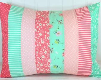 Throw Pillow Cover, Nursery Cushion Cover, Shabby Chic Nursery Decor, Chevron Nursery,12 x 16 Inches, Posy, Mint Green, Coral Pink, Flowers
