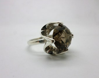Vintage Mexican Sterling Silver Topaz Ring