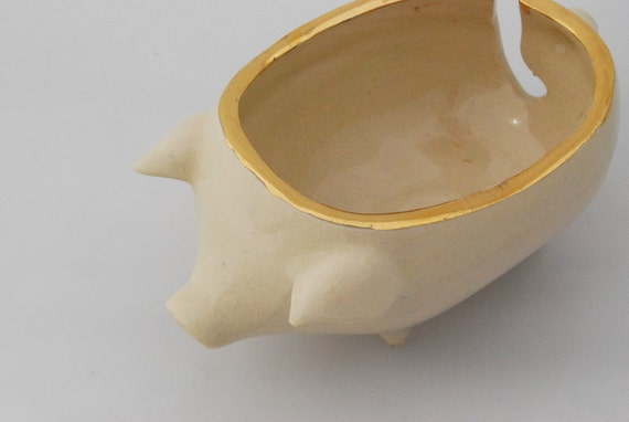 Knitting Bowl Nose : Golden rim ceramic pig yarn bowl by claylicious on etsy