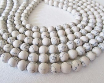 White Howlite Smooth Polished Rounds Full Strand