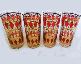 Vintage  Set  4 Red and Gold Highball Glasses with Red  Diamond Design Hollywood Regency Mid Century Modern  Mad Men Chic