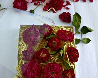 Dried Miniature Red Roses, Gift Box of Roses, Dried Roses, Romantic Gift, Free Giftwrap, Wedding Confetti, Centerpieces, 10 Dried Red Roses