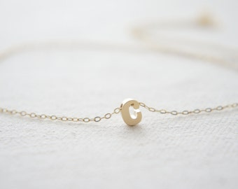 "Gold Letter, Alphabet, Initial  ""c"" necklace, birthday gift, lucky charm"
