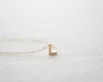 "Gold Letter, Alphabet, Initial capital ""L"" necklace, birthday gift, lucky charm"