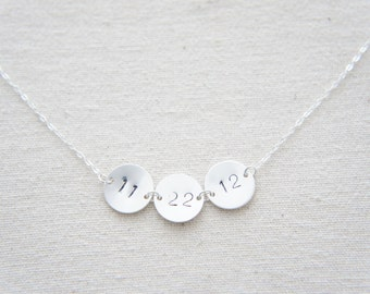 personalized date silver disc necklace, birthday, wedding, special day, baby's birthday, hand stamped, anniversary, layered necklace
