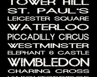 London Tube Subway Sign Bus Scroll Poster Print