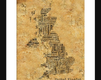 England United Kingdom Map Typography Grunge Map Poster Print Text Map