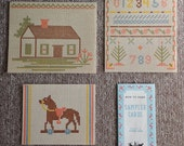 Antique sampler cards for stitchery