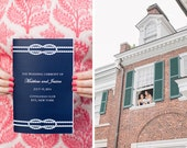 Navy Blue Nautical Knot Wedding Program Booklets