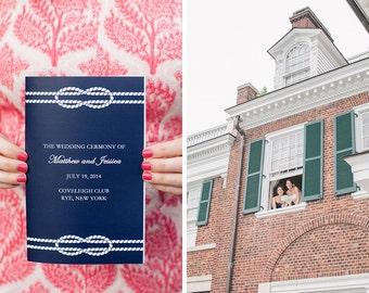 Navy Blue Nautical Knot Wedding Program Booklets