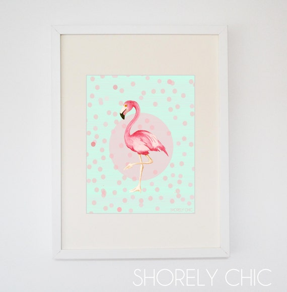 Mint and Coral Flamingo Fun Print