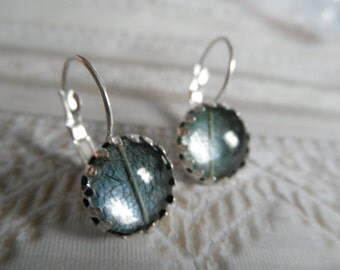 Green Skeleton Leaf Crown Leverback Earrings Beneath Glass Atop Dusty Blue Background-Symbolizes Tranquility, Serenity