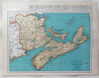 vintage 1941 map of Nova Scottia,Prince Edward Island - gorgeous colors - double sided Canada