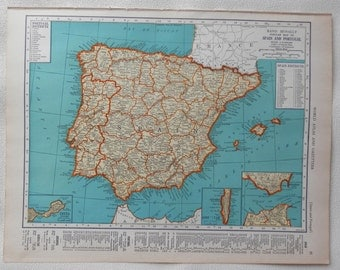 vintage 1941 map of Spain and Portugal - gorgeous colors - double sided Germany