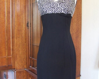 Vintage 1950s Black Silver Sleeveless Cocktail Wiggle Dress Size S, New Years Eve Party, Christmas Eve Party, Mad Men Era