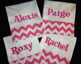 Slumber Party Set of 4 Personalized Pillowcases perfect for sleep over gift, birthday party gift