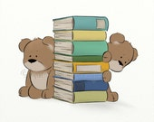 Reading Books Boys or Girls Wall Art Nursery Print 8 x 10, Cute Teddy Bear Artwork For Kids Room, Childrens Art (298)+