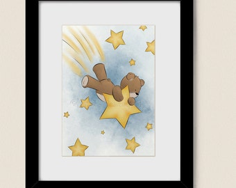 Shooting Star Childrens Wall Art 5 x 7 Print, Teddy Bear Baby Boys Nursery Art, Childs Room Wall Decor  (144)