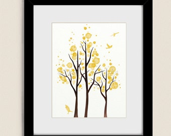 Lemon Yellow Wall Decor Living Room Print 11 x 14, Tree Wall Art for Bedroom, Tree Art Print (190)