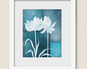 8 x 10 Modern Decor for Wall, Lotus Flower Wall Art Print, Dark Blue Floral Room Decor, Nature Art   (333)