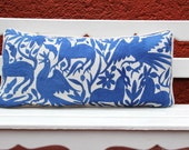 Blue lumbar  Otomi Sham backed and piped with handwoven artisan rustic eco textiles