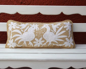 Tan and white  Otomi Lumbar Pillow Sham-Ready to ship