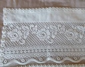 SALE, Vintage Rose Lace, Floral Valance, Topper rod pocket, cream, scalloped, beautiful home, Cottage Chic, romantic lace curtains,