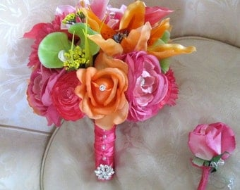 Hot pink, orange and green rhinestone bridal bouquet in silk and real touch flowers