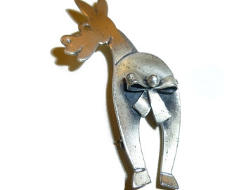Vintage Danecraft Sterling Silver Figural Donkey Brooch. Pin the Tail on the Donkey.