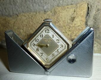 Art Deco 1930s Gruen Carre Folding Travel, Pocket, or Purse Watch. White Metal / Nickle Case. Swiss Movement.