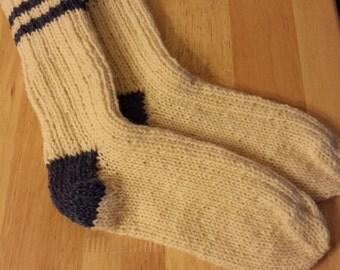 20% OFF Hand Knit Wool socks men or women Size 7