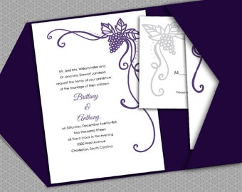 DIY- Vineyard, Printable Wedding Invitation Suite with RSVP and info card