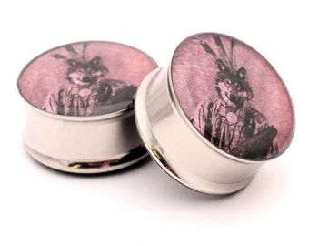 Indian Wolf Picture Plugs gauges - 16g, 14g, 12g, 10g, 8g, 6g, 4g, 2g, 0g, 00g, 1/2, 9/16, 5/8, 3/4, 7/8, 1 inch