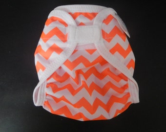 Orange Chevron Polyester PUL Cloth Diaper Cover With Aplix Hook & Loop Or Snaps You Pick Size XS/Newborn, Small, Medium, Large, or One Size