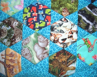 59 Animals I Spy Quilt with Blue for Boys or Girls