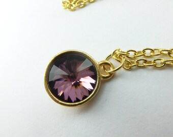 Rich Dark Mauve Necklace Yellow Gold Swarovski Crystal