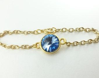Yellow Gold Light Sapphire Bracelet Crystal Chain Bracelet September Birthstone