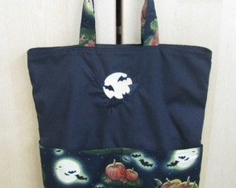 Bats Across the Moon Tote or Eco Friendly Purse Grocery or Shopping Bag