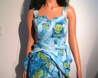 Sarong Wrap Dress. With builtin panty, bloomer,  Vintage 1960, Blue and Green Floral.  Rockabilly, Bombshell, Pinup, BOHO sundress.