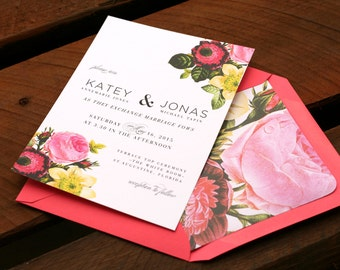 Botanical Rose Wedding Invitation, Rustic Vintage Rose, Shabby Chic, Romantic invite