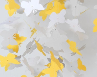 Yellow White and Light Gray butterfly mobile