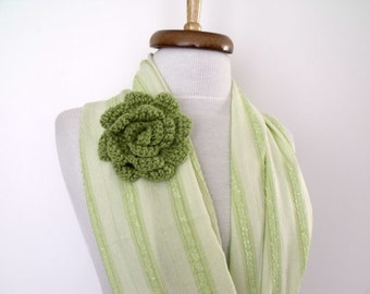 St. Patricks Day Infinity Loop Circle Green Scarf With Flower Brooch-Ready for shipping