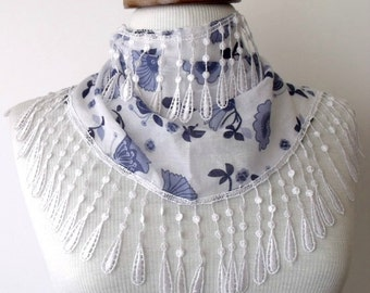 Blue White Floral Design Fringy Scarf-Women scarf-Ready for shipping