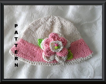 Knitted Hat Pattern Baby Hat Pattern Instant Download Baby Hat Pattern Flower Hat Pattern Knit Hat Pattern Baby Hat with Flower: THINK PINK