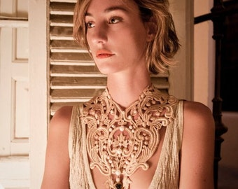 Lace oversized necklace, antique brooch, swarovsky crystal, fresh water pearls .Party necklace