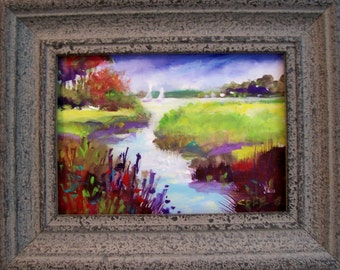OUTSIDE MY WINDOW.  5X7 worked in acrylics on canvas, framed in gray  ..on sale