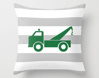 Green Tow Truck Gray and White Stripe Throw Pillow Cover Case 16X16 or 18x18 Or 20x20 Hidden Zipper